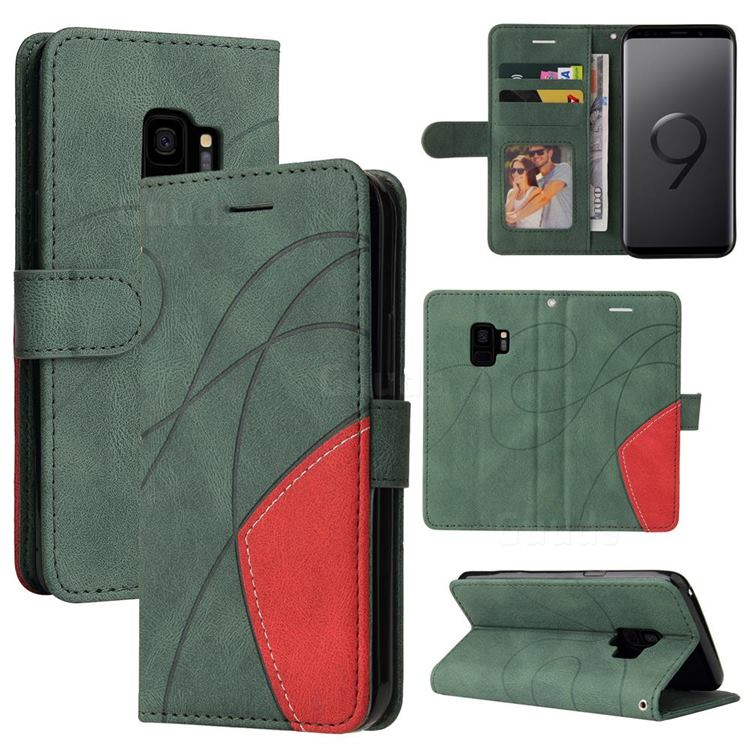 Luxury Two-color Stitching Leather Wallet Case Cover for Samsung Galaxy S9 - Green