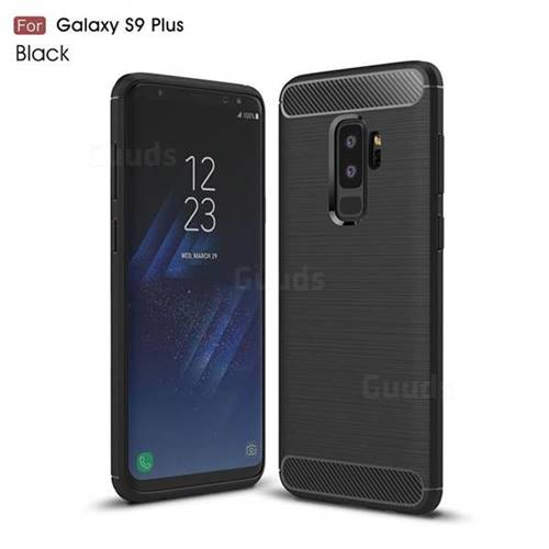 Luxury Carbon Fiber Brushed Wire Drawing Silicone TPU Back Cover for Samsung Galaxy S9 Plus(S9+) - Black