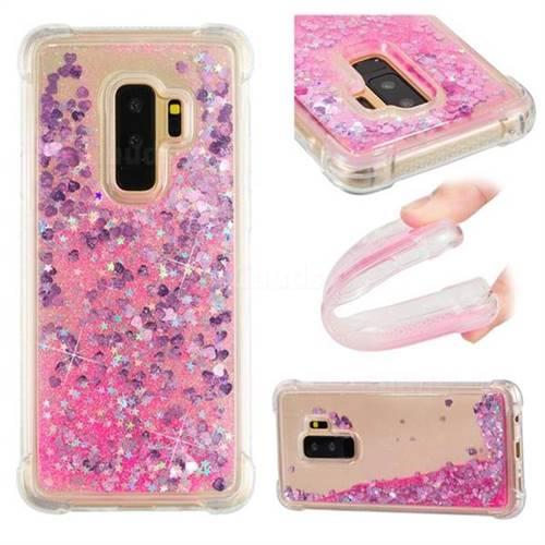 Dynamic Liquid Glitter Sand Quicksand TPU Case for Samsung Galaxy S9 Plus(S9+) - Pink Love Heart