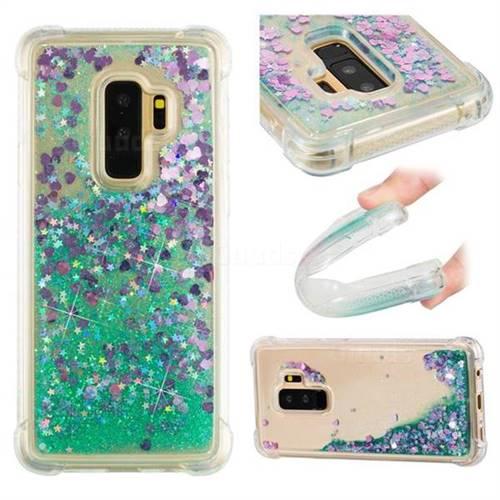 Dynamic Liquid Glitter Sand Quicksand TPU Case for Samsung Galaxy S9 Plus(S9+) - Green Love Heart