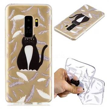 Feather Black Cat Super Clear Soft TPU Back Cover for Samsung Galaxy S9 Plus(S9+)