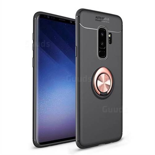 Auto Focus Invisible Ring Holder Soft Phone Case for Samsung Galaxy S9 Plus(S9+) - Black Gold