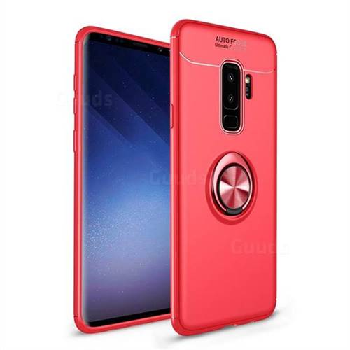 Auto Focus Invisible Ring Holder Soft Phone Case for Samsung Galaxy S9 Plus(S9+) - Red