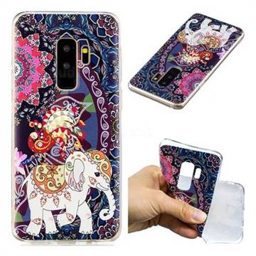 Totem Flower Elephant Super Clear Soft TPU Back Cover for Samsung Galaxy S9 Plus(S9+)