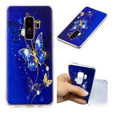 Gold and Blue Butterfly Super Clear Soft TPU Back Cover for Samsung Galaxy S9 Plus(S9+)