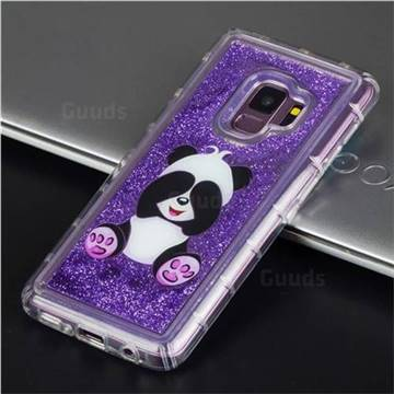 Naughty Panda Glassy Glitter Quicksand Dynamic Liquid Soft Phone Case for Samsung Galaxy S9 Plus(S9+)