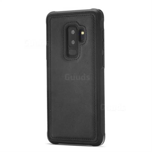 Luxury Shatter-resistant Leather Coated Phone Back Cover for Samsung Galaxy S9 Plus(S9+) - Black