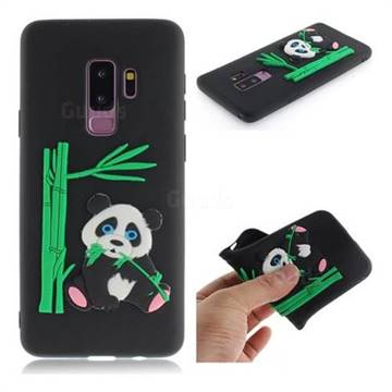 Panda Eating Bamboo Soft 3D Silicone Case for Samsung Galaxy S9 Plus(S9+) - Black