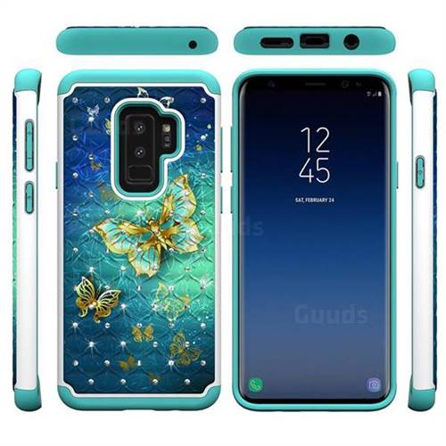 uk availability f73a5 39544 Gold Butterfly Studded Rhinestone Bling Diamond Shock Absorbing Hybrid  Defender Rugged Phone Case Cover for Samsung Galaxy S9 Plus(S9+)