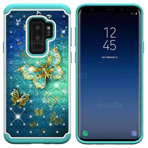 uk availability 22b3f 371fc Gold Butterfly Studded Rhinestone Bling Diamond Shock Absorbing Hybrid  Defender Rugged Phone Case Cover for Samsung Galaxy S9 Plus(S9+)
