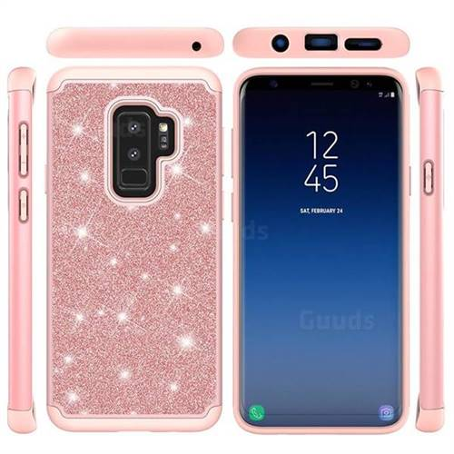 newest b06f7 139a7 Glitter Rhinestone Bling Shock Absorbing Hybrid Defender Rugged Phone Case  Cover for Samsung Galaxy S9 Plus(S9+) - Rose Gold