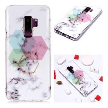 official photos 9795f 816d2 Hexagonal Soft TPU Marble Pattern Phone Case for Samsung Galaxy S9 Plus(S9+)