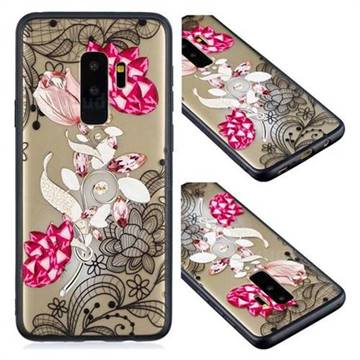 Tulip Lace Diamond Flower Soft TPU Back Cover for Samsung Galaxy S9 Plus(S9+)