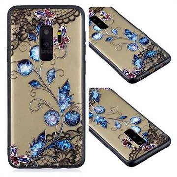 Butterfly Lace Diamond Flower Soft TPU Back Cover for Samsung Galaxy S9 Plus(S9+)