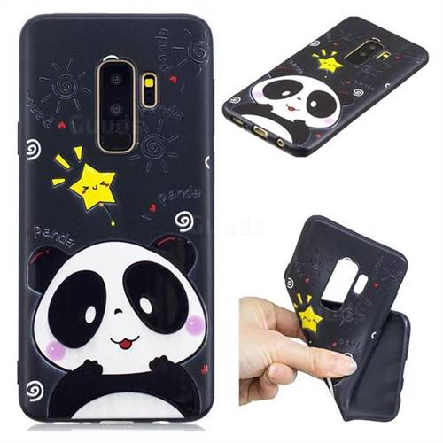 Cute Bear 3D Embossed Relief Black TPU Cell Phone Back Cover for Samsung Galaxy S9 Plus(S9+)