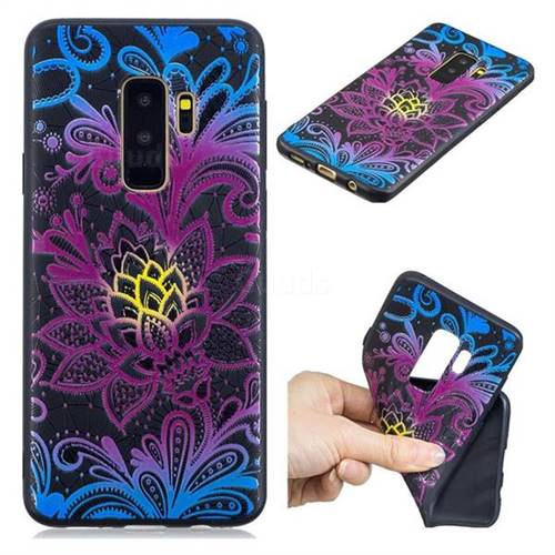 Colorful Lace 3D Embossed Relief Black TPU Cell Phone Back Cover for Samsung Galaxy S9 Plus(S9+)
