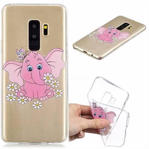 Tiny Pink Elephant Clear Varnish Soft Phone Back Cover for Samsung Galaxy S9 Plus(S9+)