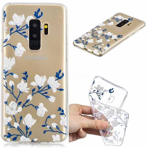 Magnolia Flower Clear Varnish Soft Phone Back Cover for Samsung Galaxy S9 Plus(S9+)