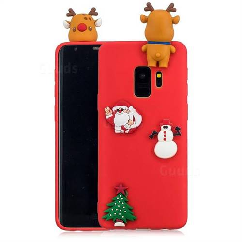 Red Elk Christmas Xmax Soft 3D Silicone Case for Samsung Galaxy S9 Plus(S9+)