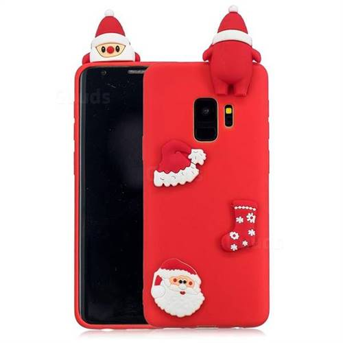 Red Santa Claus Christmas Xmax Soft 3D Silicone Case for Samsung Galaxy S9 Plus(S9+)