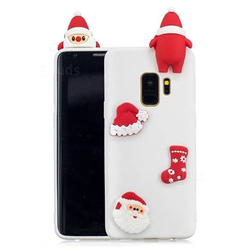 White Santa Claus Christmas Xmax Soft 3D Silicone Case for Samsung Galaxy S9 Plus(S9+)