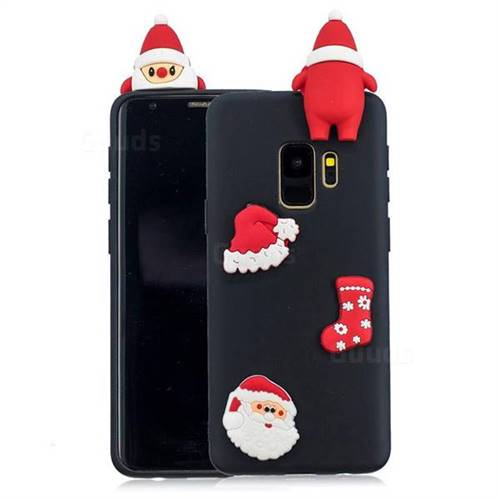 Black Santa Claus Christmas Xmax Soft 3D Silicone Case for Samsung Galaxy S9 Plus(S9+)