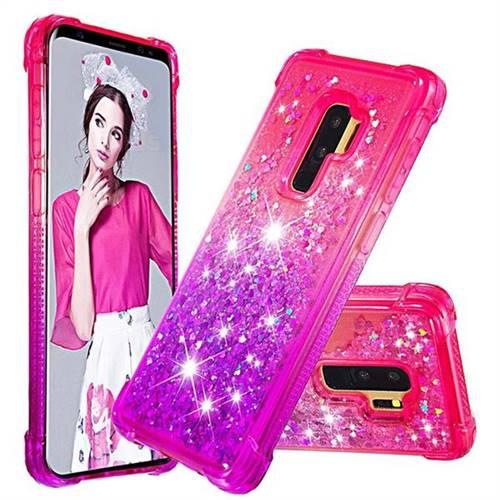 Rainbow Gradient Liquid Glitter Quicksand Sequins Phone Case for Samsung Galaxy S9 Plus(S9+) - Pink Purple