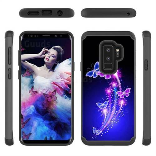 Dancing Butterflies Shock Absorbing Hybrid Defender Rugged Phone Case Cover for Samsung Galaxy S9 Plus(S9+)