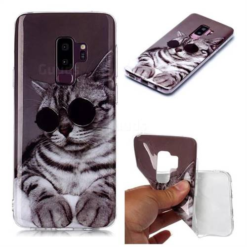Kitten with Sunglasses Soft TPU Cell Phone Back Cover for Samsung Galaxy S9 Plus(S9+)