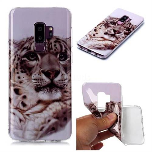 White Leopard Soft TPU Cell Phone Back Cover for Samsung Galaxy S9 Plus(S9+)