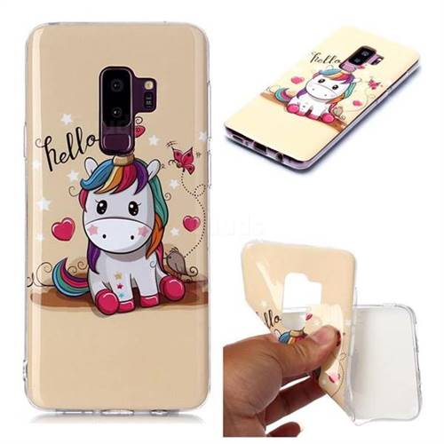 Hello Unicorn Soft TPU Cell Phone Back Cover for Samsung Galaxy S9 Plus(S9+)