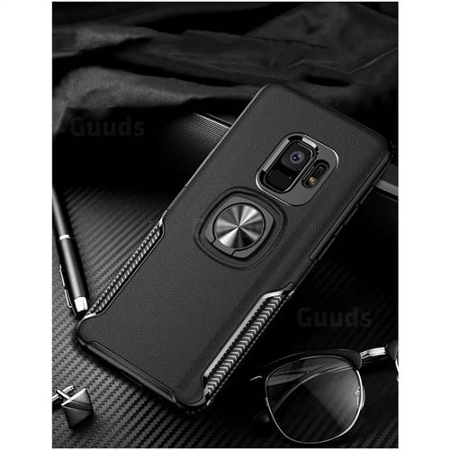 Knight Armor Anti Drop PC + Silicone Invisible Ring Holder Phone Cover for Samsung Galaxy S9 Plus(S9+) - Black