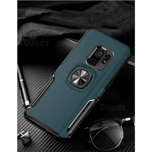 Knight Armor Anti Drop PC + Silicone Invisible Ring Holder Phone Cover for Samsung Galaxy S9 Plus(S9+) - Sapphire