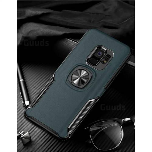 Knight Armor Anti Drop PC + Silicone Invisible Ring Holder Phone Cover for Samsung Galaxy S9 Plus(S9+) - Navy