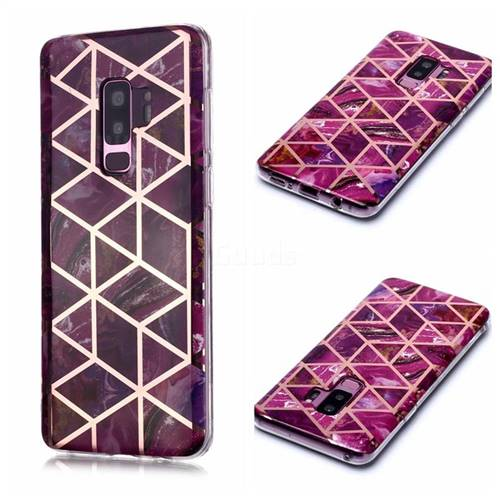Purple Rhombus Galvanized Rose Gold Marble Phone Back Cover for Samsung Galaxy S9 Plus(S9+)