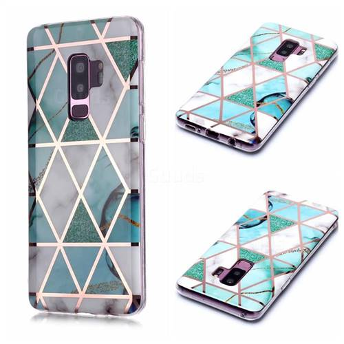 Green White Galvanized Rose Gold Marble Phone Back Cover for Samsung Galaxy S9 Plus(S9+)