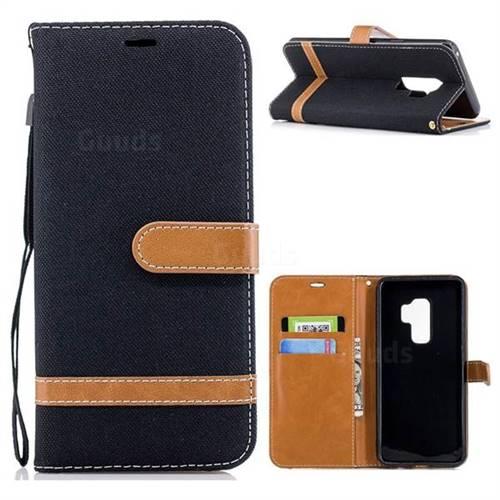 Jeans Cowboy Denim Leather Wallet Case for Samsung Galaxy S9 Plus(S9+) - Black