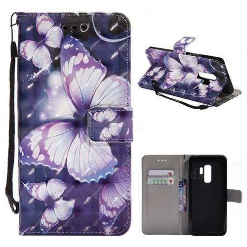 Violet butterfly 3D Painted Leather Wallet Case for Samsung Galaxy S9 Plus(S9+)