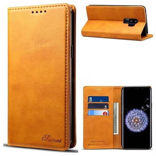 Suteni Simple Style Calf Stripe Leather Wallet Phone Case for Samsung Galaxy S9 Plus(S9+) - Khaki