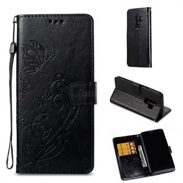 Embossing Butterfly Flower Leather Wallet Case for Samsung Galaxy S9 Plus(S9+) - Black