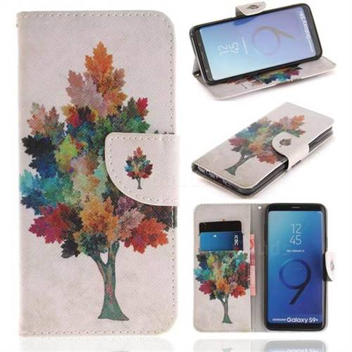 Colored Tree PU Leather Wallet Case for Samsung Galaxy S9 Plus(S9+)