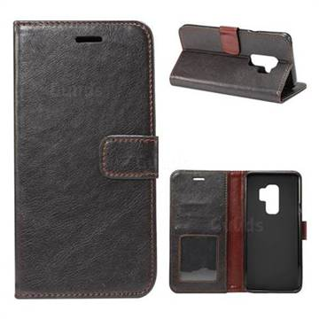 Retro Classic Smooth PU Leather Wallet Holster Case for Samsung Galaxy S9 Plus(S9+) - Black