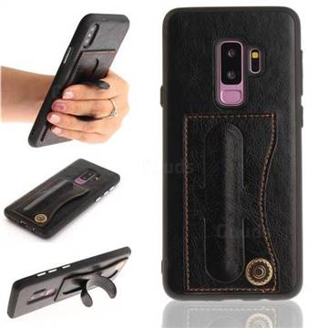 Retro Leather Coated Back Cover with Hidden Kickstand and Card Slot for Samsung Galaxy S9 Plus(S9+) - Black