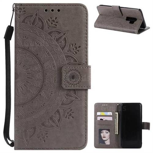 Intricate Embossing Datura Leather Wallet Case for Samsung Galaxy S9 Plus(S9+) - Gray