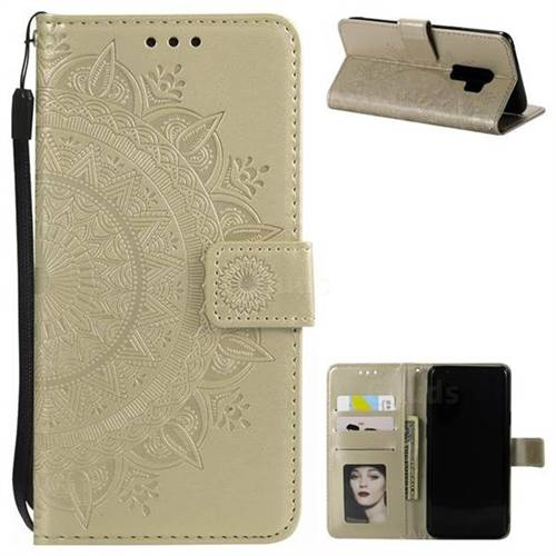 Intricate Embossing Datura Leather Wallet Case for Samsung Galaxy S9 Plus(S9+) - Golden