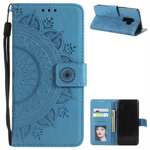 Intricate Embossing Datura Leather Wallet Case for Samsung Galaxy S9 Plus(S9+) - Blue