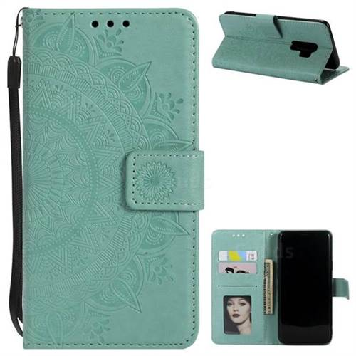 Intricate Embossing Datura Leather Wallet Case for Samsung Galaxy S9 Plus(S9+) - Mint Green
