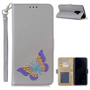 Imprint Embossing Butterfly Leather Wallet Case for Samsung Galaxy S9 Plus(S9+) - Grey