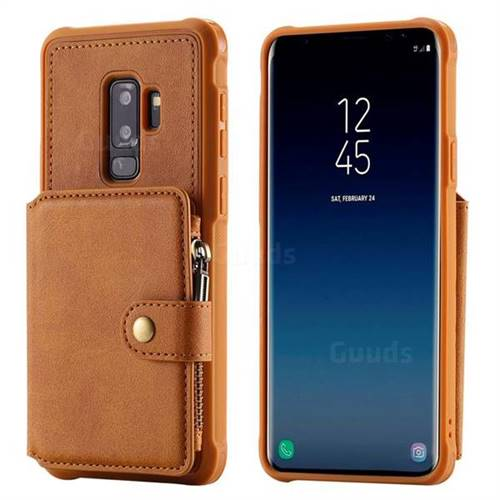 low priced e2d80 605c6 Retro Luxury Multifunction Zipper Leather Phone Back Cover for Samsung  Galaxy S9 Plus(S9+) - Brown
