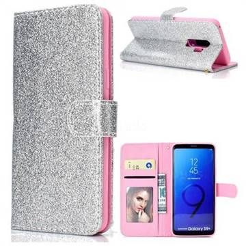 Glitter Shine Leather Wallet Phone Case for Samsung Galaxy S9 Plus(S9+) - Silver